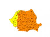 Cod portocaliu de ger persistent, în cea mai mare parte a țării, luni și marți