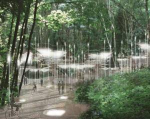 Sylvan Constellation e un proiect propus de arhitecți pentru cimitirele viitorului. Trupurile celor decedați sunt incapsulate iar biomasa emisă din corpurile lor e transformată în lumină.