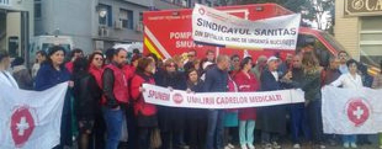 Spitalul Județean de Urgență Cluj blocat de proteste