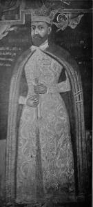 Mihai Viteazu, frescă del la Mănăstirea Căluiu.Domnitorul poartă hlamida lungă de model bizantin.